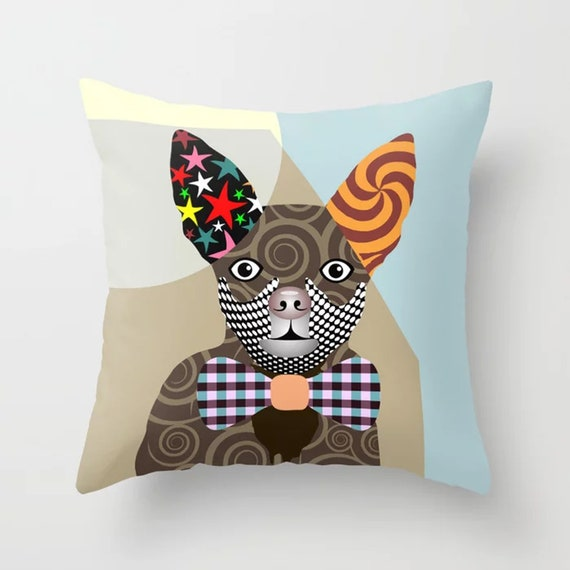 Chihuahua Pillow, Dog Cushion Hipster Animal Print Pet Decor