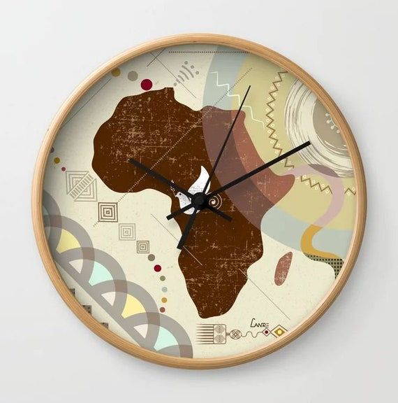 African Clock, African Map Decoration, African Map Art, African Map Painting, African Gift, African Art, African Decor, African American