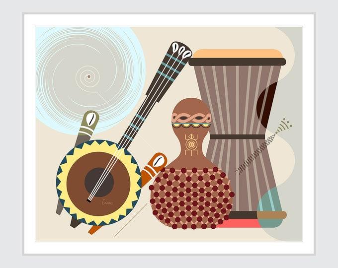 African Musical Instrument Art, Gourd Rattle Kora Gangan Talking Drum Decor