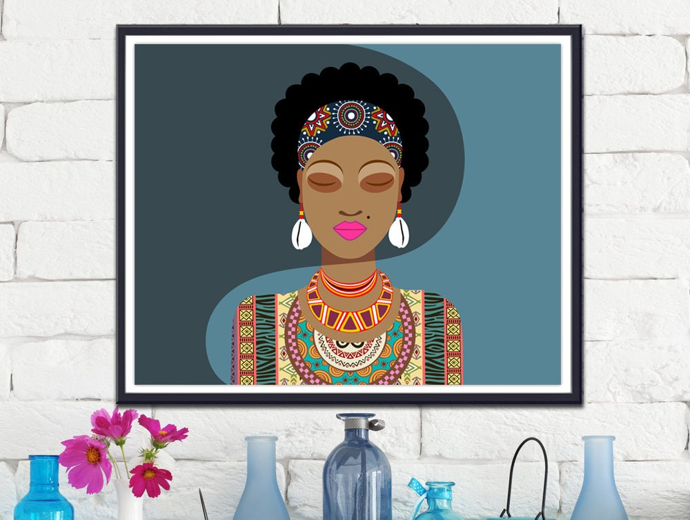 African Woman Black Painting Queen American Art Wall Decor
