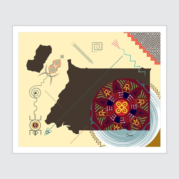 Equatorial Guinea Map, Malabo Central African Country Decor