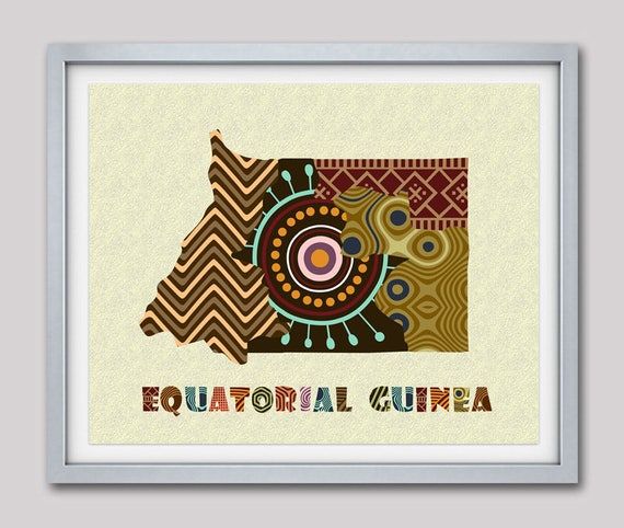 Equatorial Guinea Map Art Print Wall Decor,  Equatorial Guinea Poster African Art Print, Malabo West Coast Of African