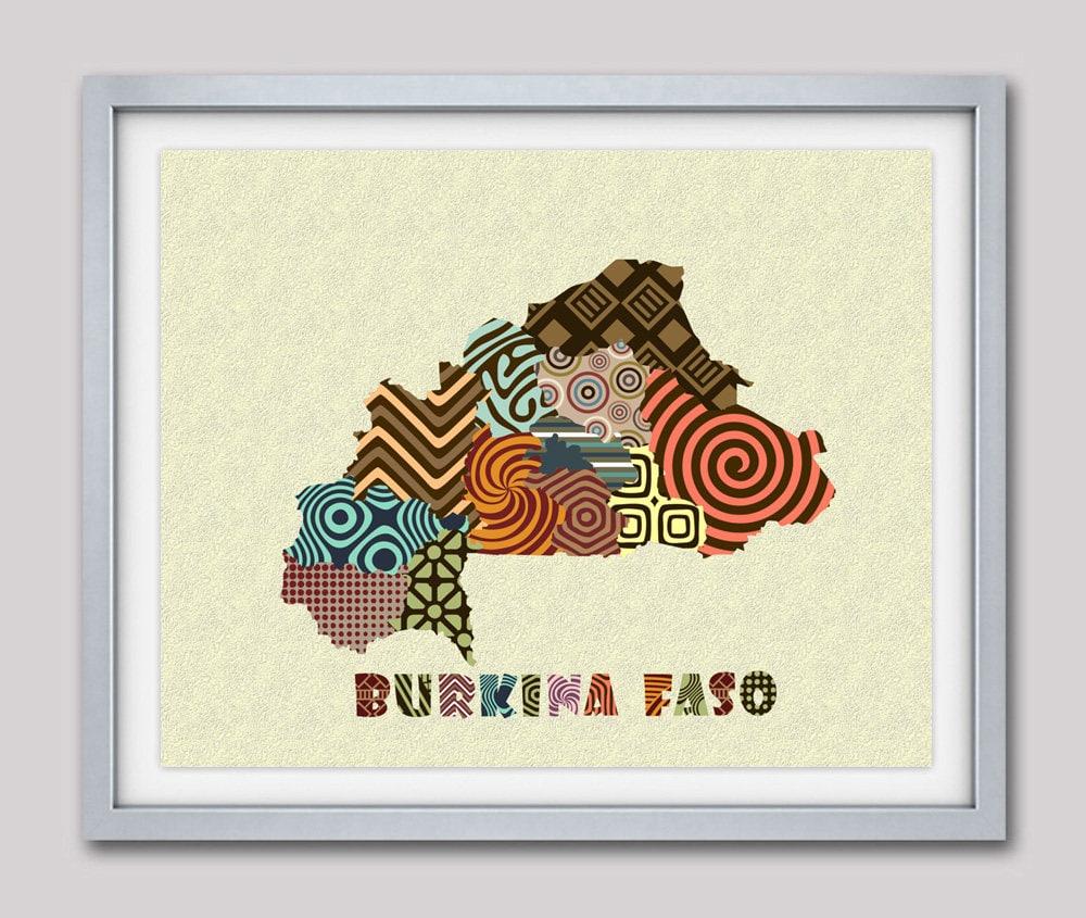 Burkina Faso Map Art Print Wall Decor Burkina Faso Poster