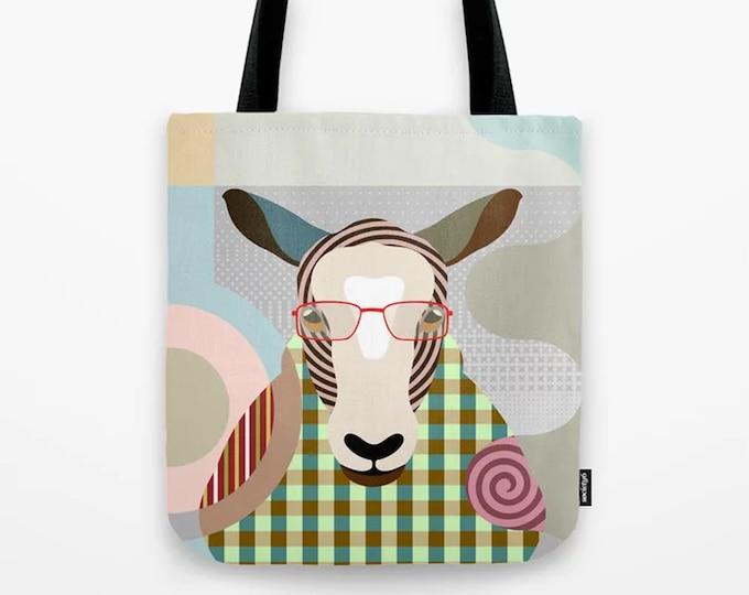 Sheep Tote Bag, Lamb Gift Farm Animal Printed Canvas Sack