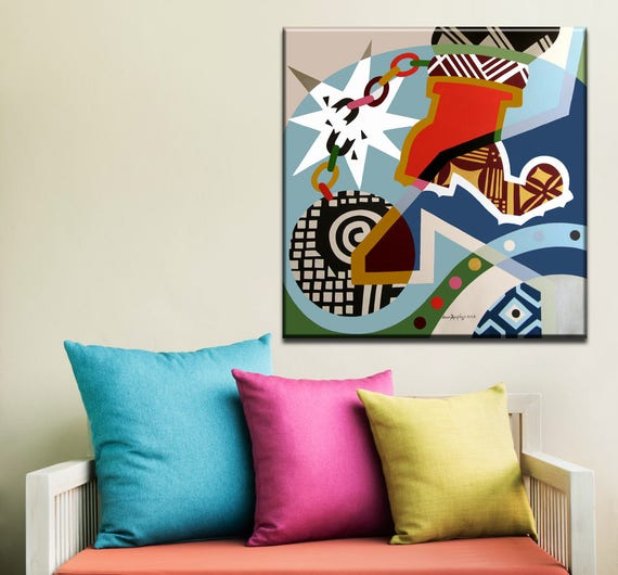 Original Abstract Painting, Acrylic Painting Canvas Art, Acrylic On Canvas Freedom Painting,  Pop Art Colorful Painting, Cubism Painting