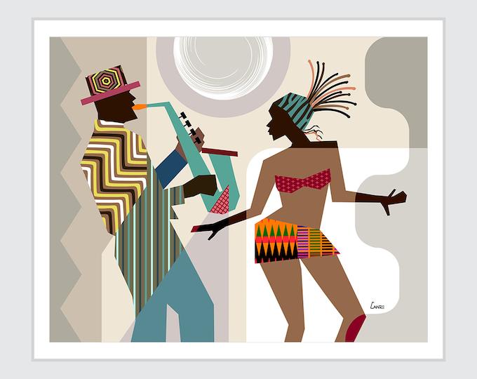 African American wall Art, African painting, African Decor, Black Art,  Dance Gift, Dancing Queen, Saxophone Art, Music Poster, Music Decor