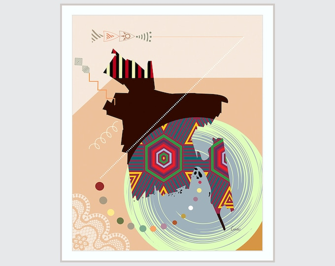 Bangladesh Map, Dhaka Art Print, South Asia Travel Poster