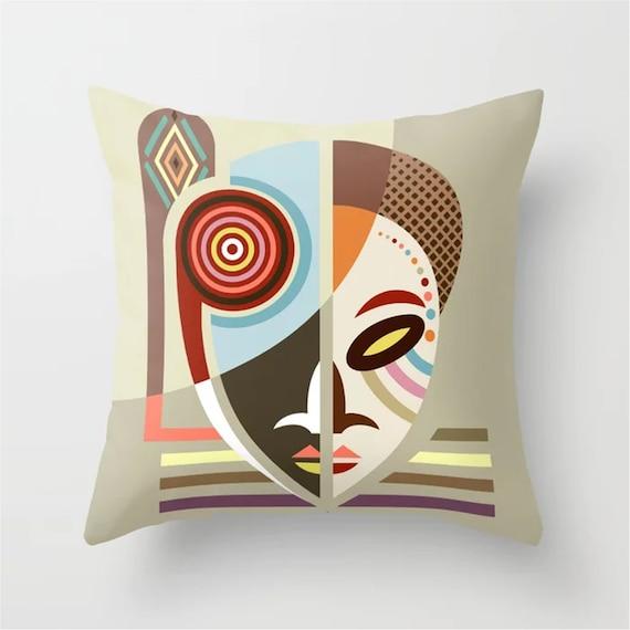 African Mask Throw Pillow, Afrocentric Decor