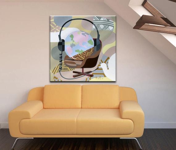 Large Acrylic Painting, Large Original Painting, Large Original Artwork, World Map Canvas, Canvas Dove, Canvas Music Art, World Peace Art