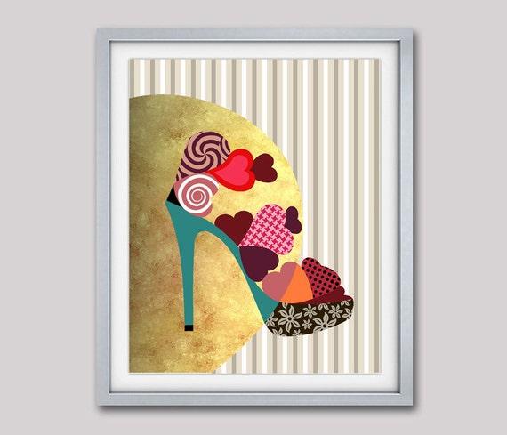 Girls Room Decor, Shoe Art, Womens Gifts, Shoe Painting, Girls Room Art Print, Gift For women, High Heels, Gift For Her