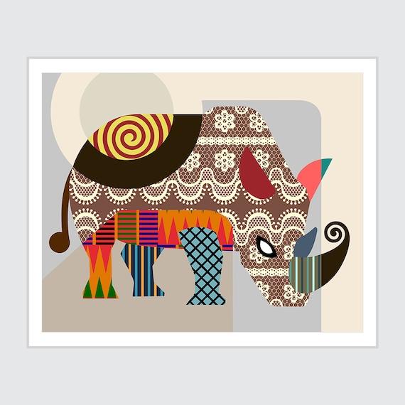Rhinoceros Art Print Painting, Safari Animal Decor