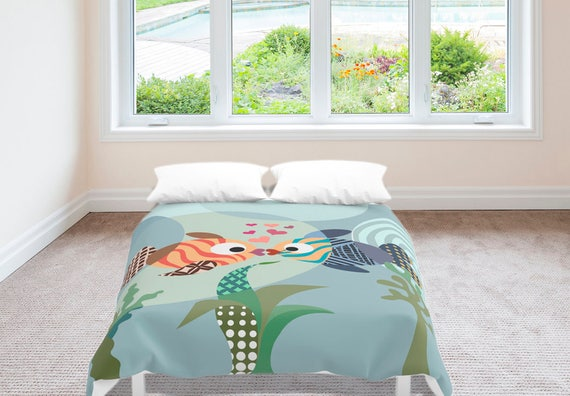 Fish Bedding, Love Decor, Love Gift, Valentine Gift, Queen Duvet Cover, Full Duvet Cover, King Duvet Cover, Blue