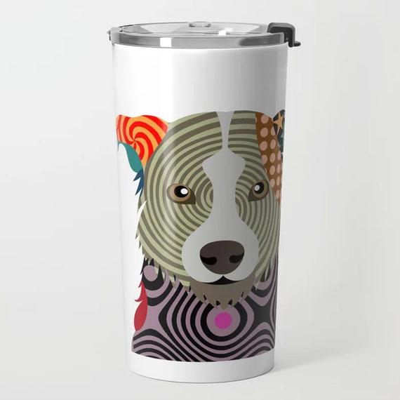 Border Collie Travel Mug, Dog Tumbler Doggie Cup