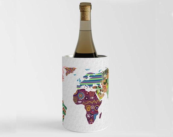 World Map Wine Chiller, Champagne Wine Cooler Bottle Holder