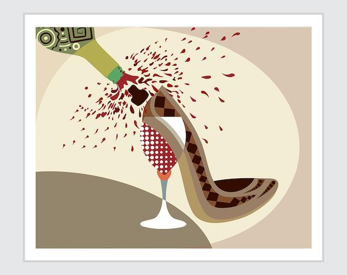Shoe Artwork Fashion Poster, High Heel Decor Wine Gift