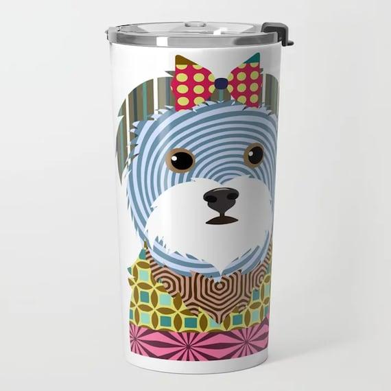Maltese Gift  Metal Travel Mug, Cute Dog Tumbler Cup