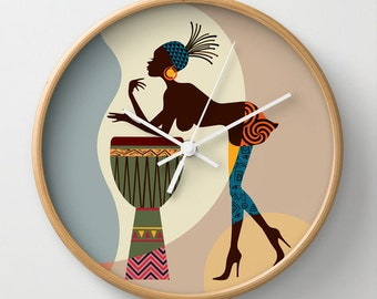 African Inspired Clock, Cute Afrocentric Wall Clock, African Woman Wall Clock, African Wall Decor, Afrocentric Decor