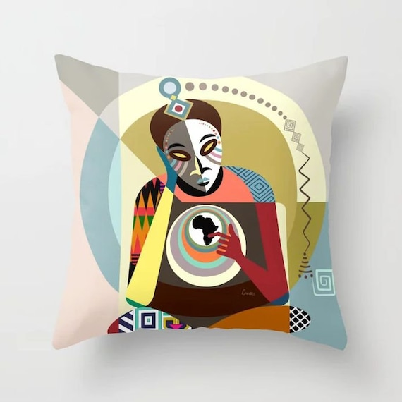 African Pillow Mask, Afrocentric Decor Cushion
