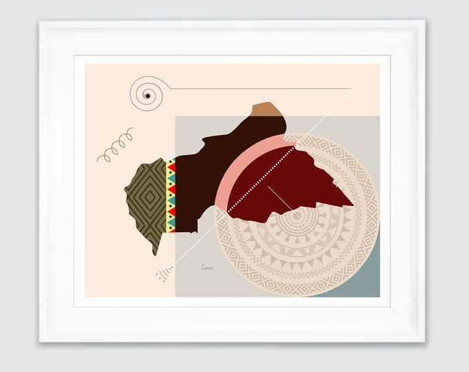 Central African Republic Map, Bangui Art African Country Abstract Geometric Design