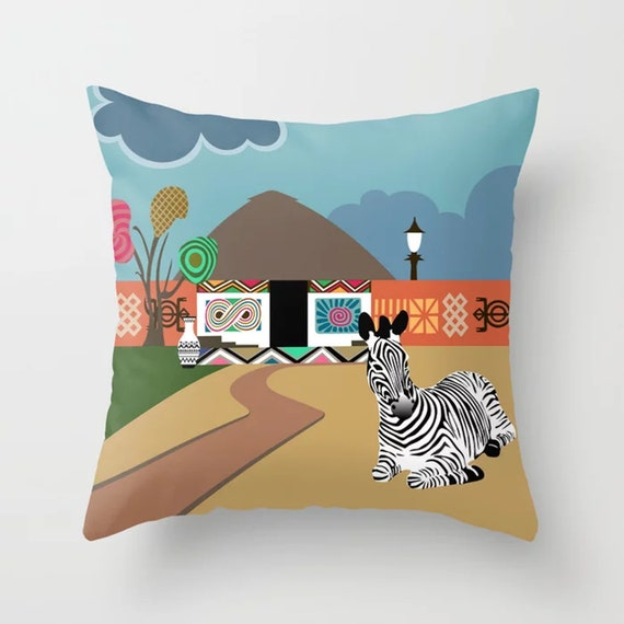 African Designer Pillow, Black Culture Cushion