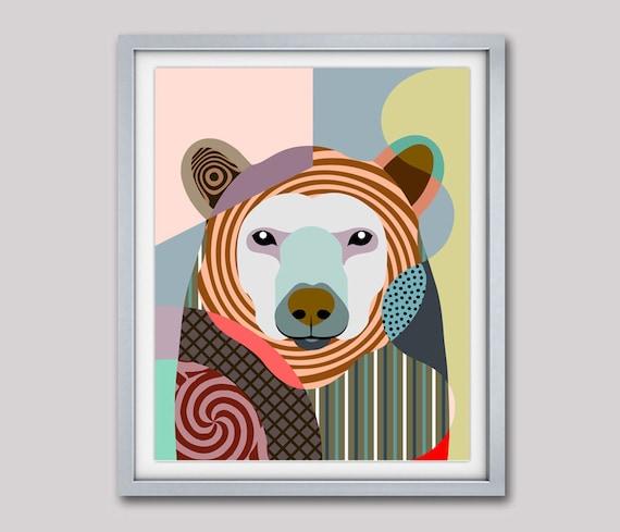 Polar Bear Art Print , Bear Painting, Bear Poster, Bear Decor, Wild Animals, Bear Pattern, Animal Print, Animal Decor, Colorful Animal Art