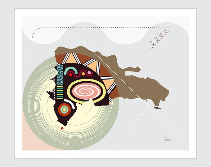 Dominican Republic Map Geometric Cubist Design, Santo Domingo Caribbean Country