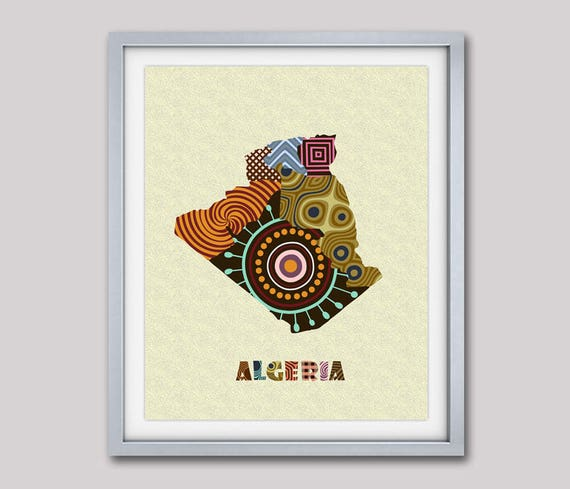 Algeria Map Art Print Wall Decor, Algeria Poster African Art Print, Algiers North African Map Poster