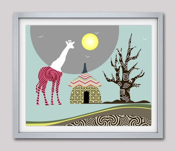 Giraffe Print African Safari Decor, African Animal Print Nature Decor, Giraffe Wall Art, Giraffe Painting
