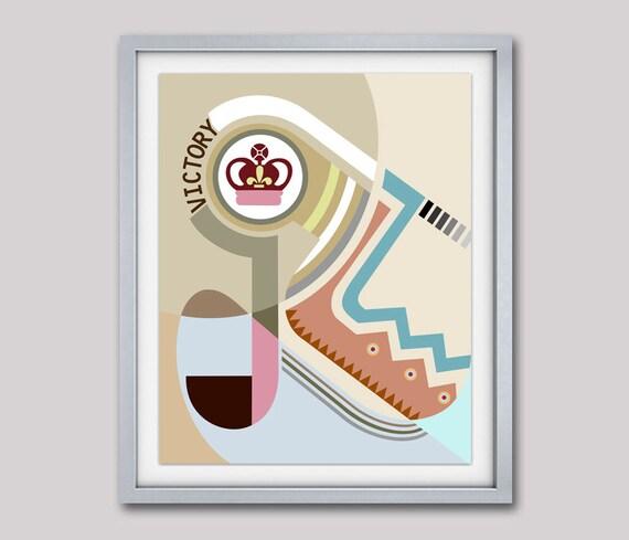 Bauhaus Print, Bauhaus Design, Bauhaus Poster, Crown Print, Crown Decor, Abstract Art, Cubist Painting, Geometric Art Print, Cubism Painting