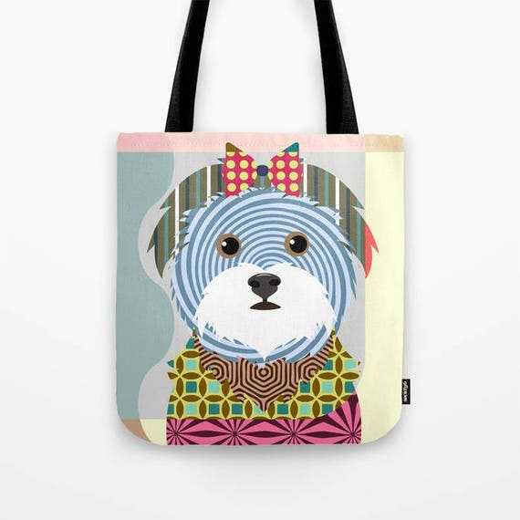 Maltese Tote, Maltese Bag, Maltese Gifts, Maltese Art Print, Dog Tote Bag, Dog Lover's Gift, Animal Lover Gift, Pet Tote Bag