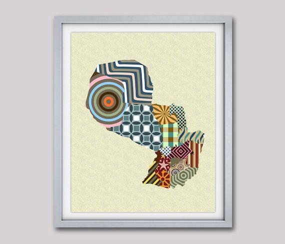 Paraguay Map Print Poster,  Asunción Print Poster Map Wall Decor, South America Travel Poster, Cubist Art, Geometric Art