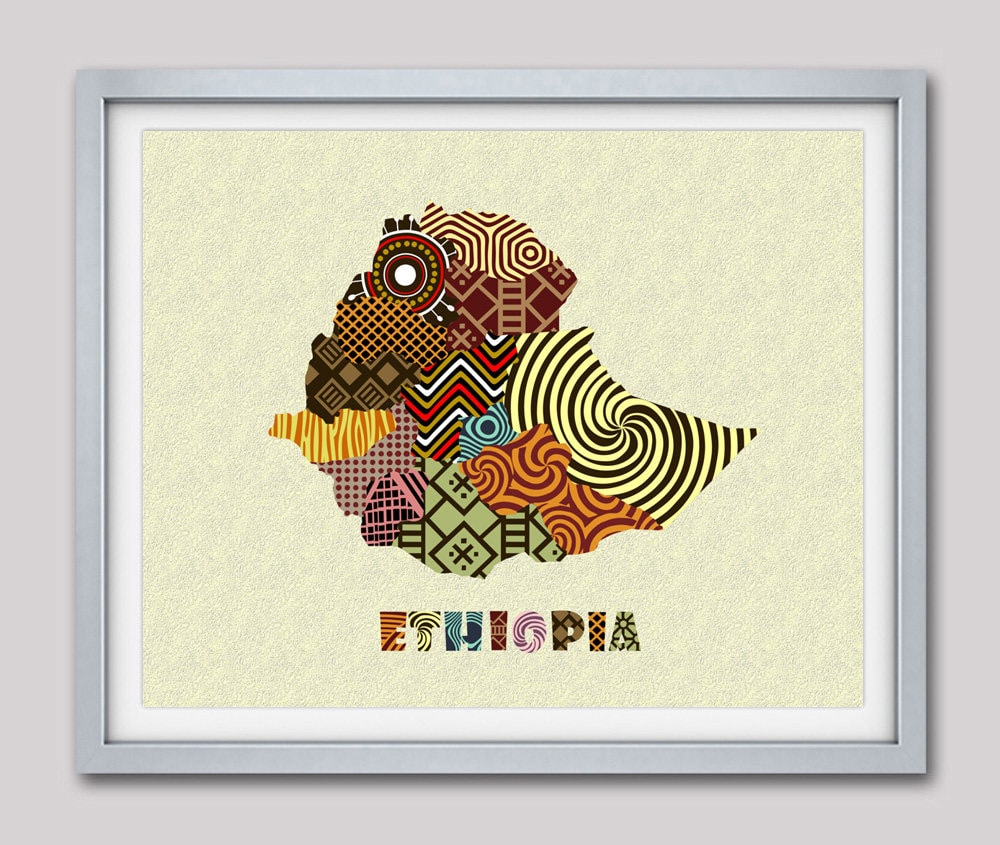 Ethiopia Map Art Print Wall Decor Ethiopia Poster Addis Etsy