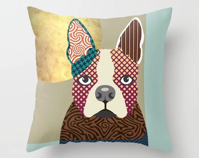 Boston Terrier Pillow, Dog Cushion Puppy Decor