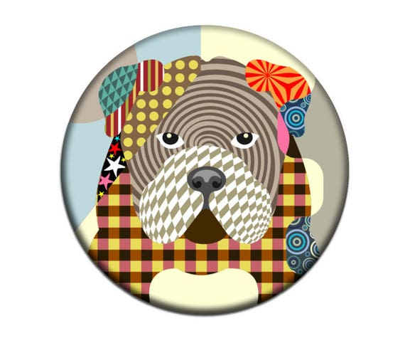 English Bulldog Magnet,  English Bulldog Accessories,  English Bulldog Gift,  Animal Magnet,  2. 25 inches diameter and 0.25 inches thick