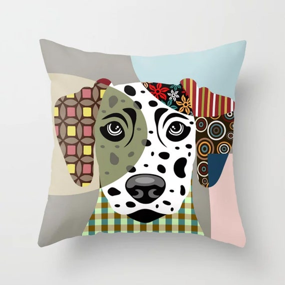Dalmatian Pillow, Dog Cushion  Puppy Decor Pet Portrait