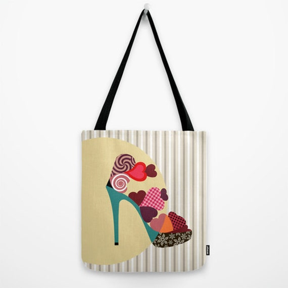 Shoe Bag, Shoe Lover Gift, Love Gift, Gift For Her, Gift For Ladies, Valentines Day, Love Heart, Red, Green, Orange