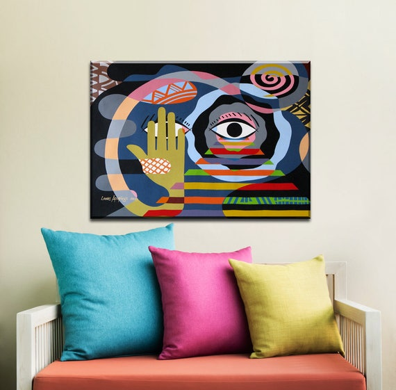Original Colorful Paintings, Geometric Art,  Acrylic Painting on Canvas, Original Abstract Painting, Original Cubist Painting