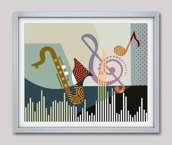 Musical Artwork Print, Saxophone Art, Music Pop Art Decor, Music Inspired Art, Music Notes Wall Art