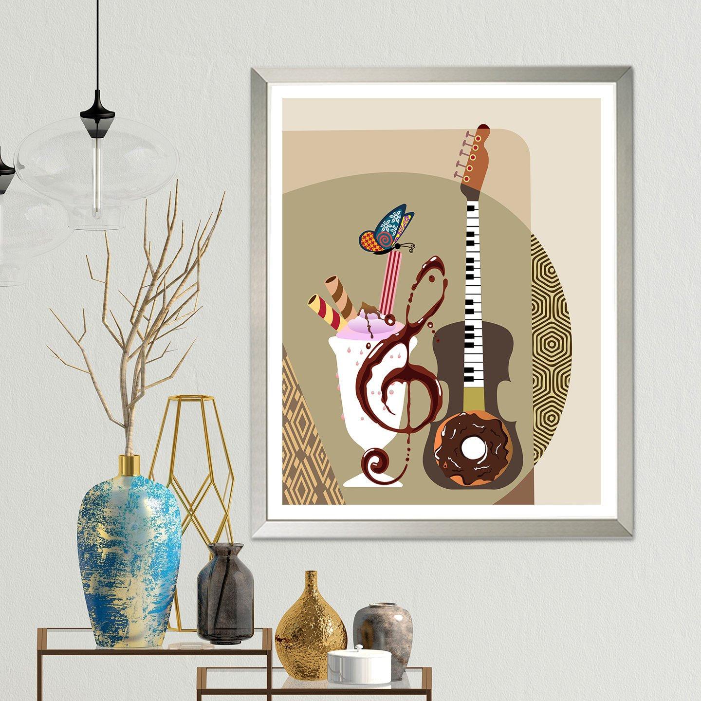 Guitar Art Painting Funny Music Wall Decor Piano Teacher Gift,Christmas Decorations Diy Easy