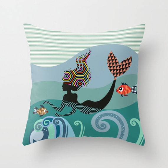 Mermaid Throw Pillow, Water Nymph Girly Decor Cushion Printed