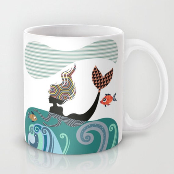 Mermaid Coffee Mug, Girly Gift  Tea Cup  Ocean Beach Drinkware