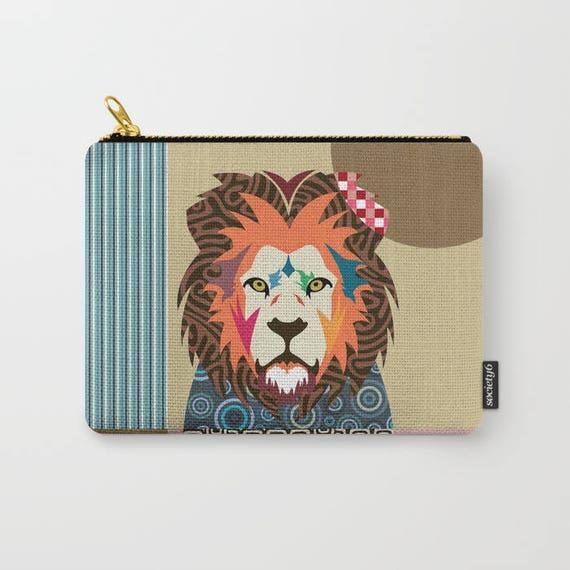 Lion Coin Purse, Lion Pouch, Lion Wallet, Lion Gifts,  Zipper Bag Purse, Lion Zipper Pouch, Lion Lovers Gift, Lion Purse