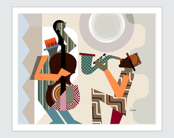 Jazz Festival Orleans Music Poster, Saxophone Violin Wall Art