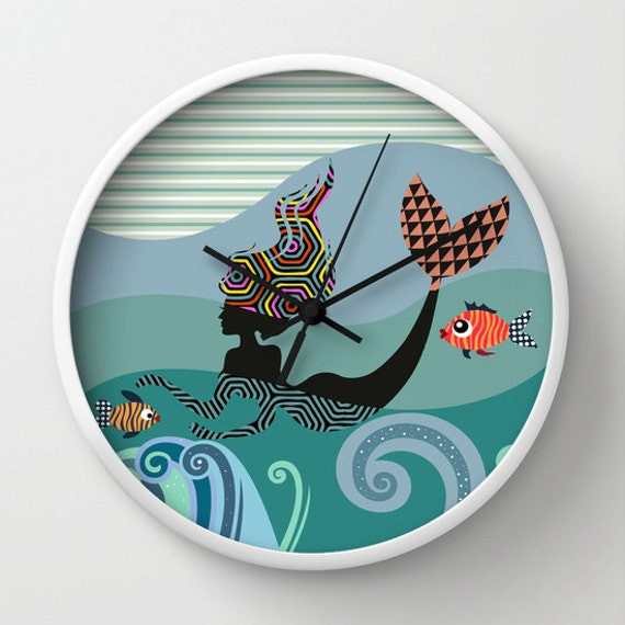 Mermaid  Wall Clock, Girls Room Decor Gift For Her