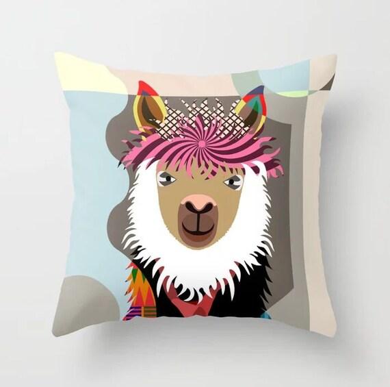 Llama Throw Pillow, Alpaca Cushion Hipster Animal Decor