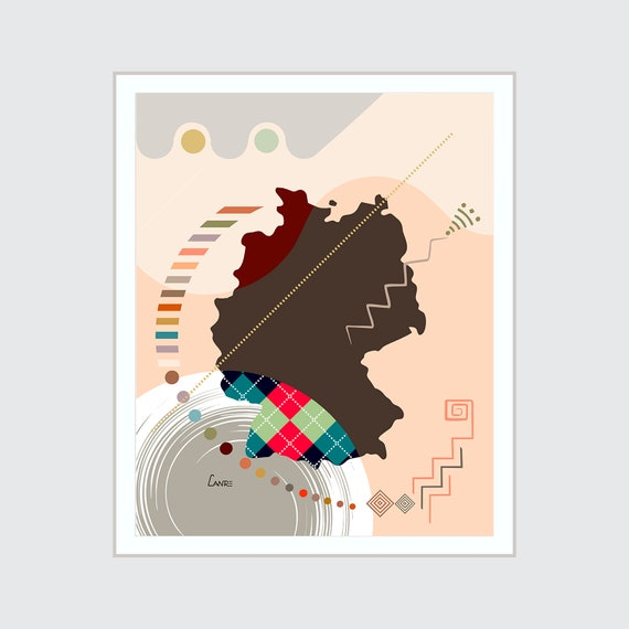 Germany Map Country Decor, Berlin Souvenir Print