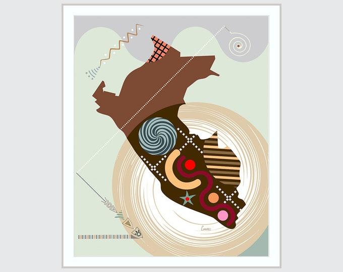 Peru Map Art, Lima Latin South America Print