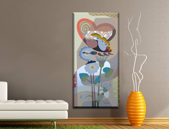 Original Butterfly Art, Love Painting, Abstract Flower Art, Large Wall Art, Love Canvas Art, Rectangular Art, Geometric Wall Art, Cubist Art