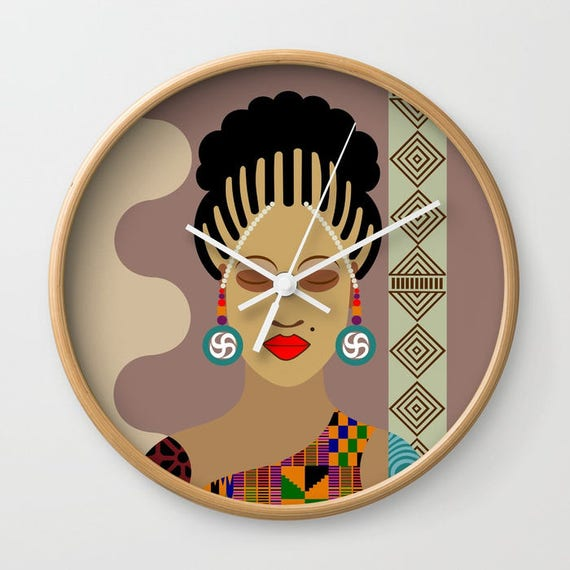 African Wall Hanging, Afrocentric Wall Clock, African Woman Wall Clock, African Wall Decor, Afrocentric Decor, African Inspired Clock
