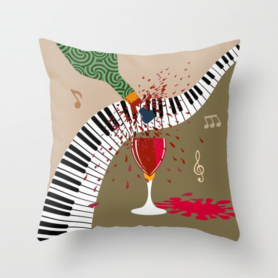 Piano Decorative Pillow Cover, Wine Pillow, colourful Pillow, Cute Pillow, Pillow Case, Music Note Pillow, Music Lover Gift